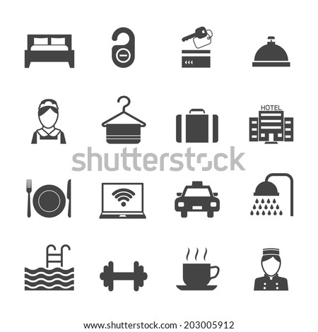 Hotel business accommodation elements black icons isolated vector illustration - stock vector