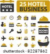 hotel business icons, signs, vector illustrations - stock vector