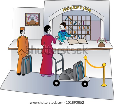 Hotel concierge welcoming guests with luggage on a trolley and a bell hop - stock vector