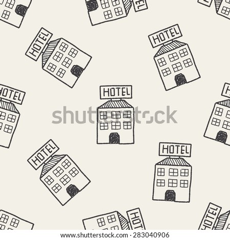 hotel doodle drawing seamless pattern background