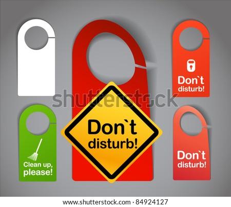 Hotel door signs - stock vector