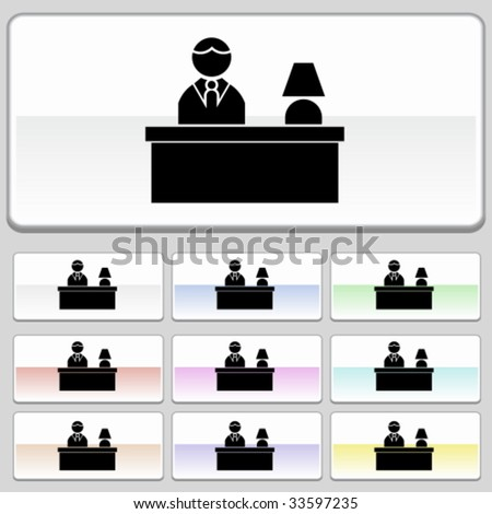hotel front desk glide - stock vector