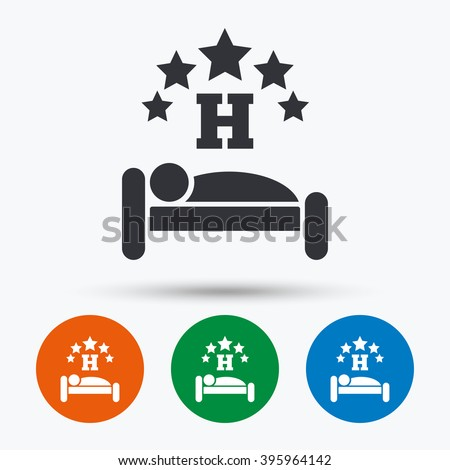 Hotel icon. Hotel flat symbol. Hotel art illustration. Hotel flat sign. Hotel graphic icon. Flat icons in circles. Round buttons for web. - stock vector