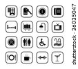 Hotel icons, B&W series. - stock vector