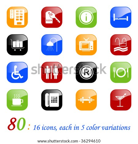 Hotel icons - color series - stock vector