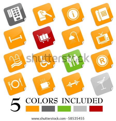 Hotel icons I - sticky series - stock vector