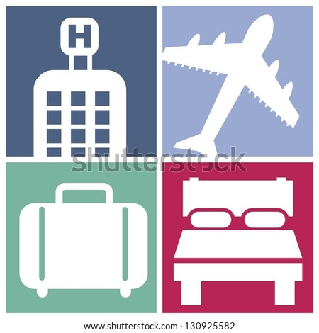 hotel icons over square background. vector illustration - stock vector