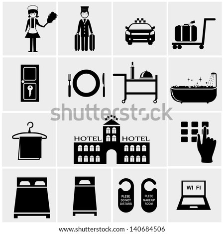 Hotel Icons set elegant series - stock vector