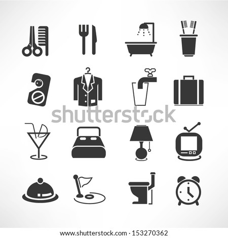 hotel icons set, hotel services set - stock vector