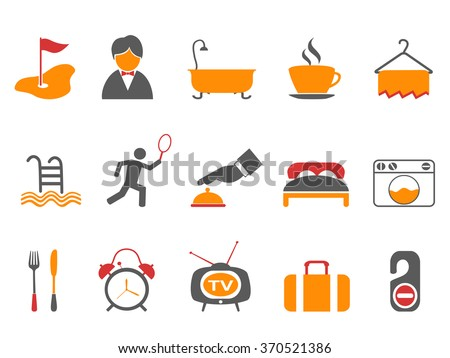 hotel icons set orange color series - stock vector