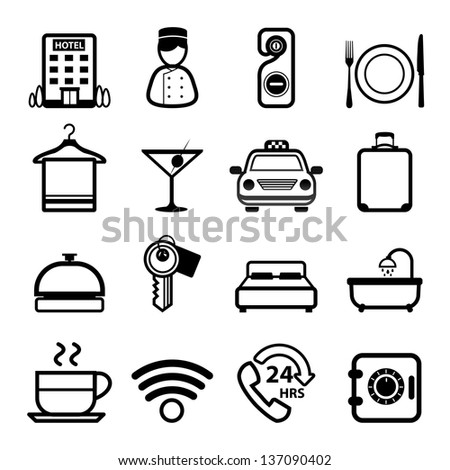 Hotel Icons set vector - stock vector