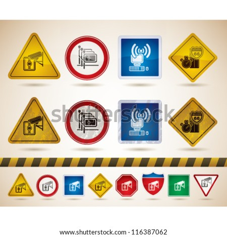 Hotel icons to illustrate misc. camping features from left to right: Video Surveillance of Entrances, Portugese-speaking staff available, Wireless Internet Access, Distance from Nearest Motorway. - stock vector