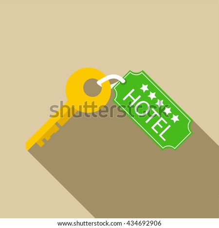 Hotel key icon in flat style - stock vector