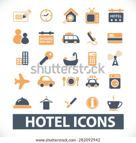 hotel, motel icons, signs, illustrations set, vector - stock vector