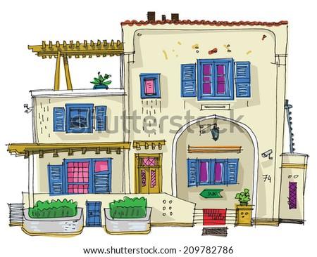 Hotel on Santorini island, Greece - cartoon - stock vector