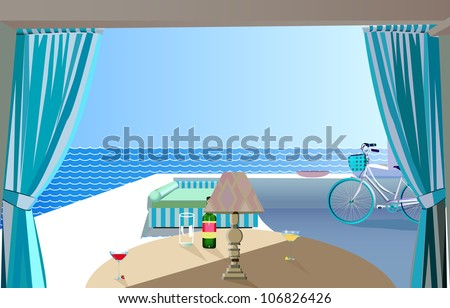 hotel on the sea - stock vector