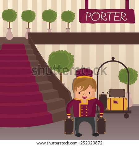Hotel porter in a hotel lobby with staircase - stock vector