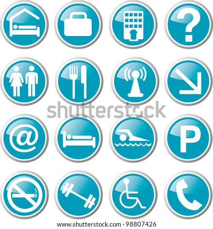 hotel related icon set - stock vector