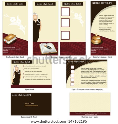 Hotel Retro Template Brochure Design Cd Stock Vector