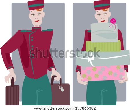 Hotel service. Bellboy. Vector illustration  - stock vector