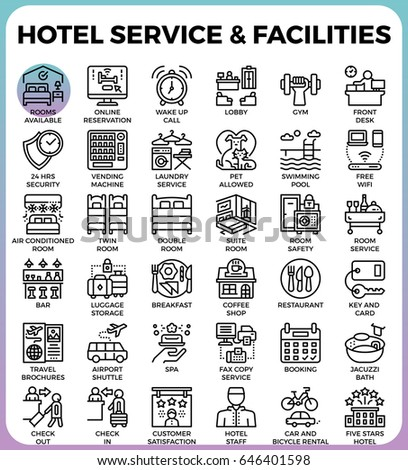 Hotel Service Facilities Concept Detailed Line Stock Vector 646401598 Shutterstock