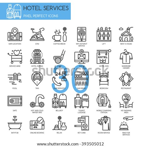 Hotel Service , thin line icons set , Pixel perfect icon - stock vector