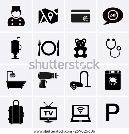Hotel Services and Facilities Icons. Set 1. Vector - stock vector
