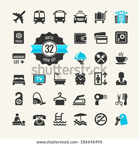 Hotel services web icon set - stock vector