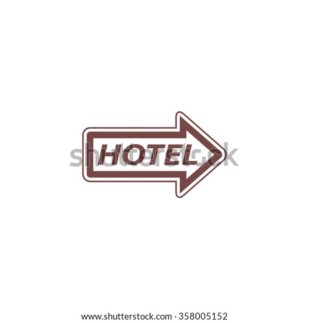Hotel signboard vector. Colorful vector icon. Simple retro color modern illustration pictogram. Collection concept symbol for infographic project and logo - stock vector
