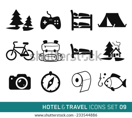 Hotel & Travel icons set // 09 - stock vector