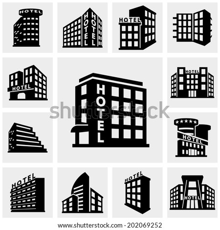 Hotel vector icons set on gray.  - stock vector