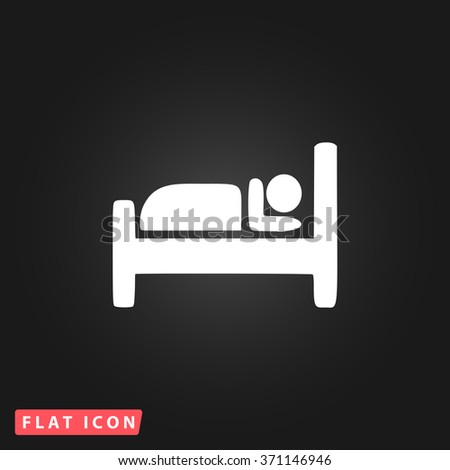 Hotel. White flat simple vector icon on black background. Icon JPEG JPG. Icon Picture Image. Icon Graphic Art. Icon EPS AI. Icon Drawing Object. Icon Path UI - stock vector