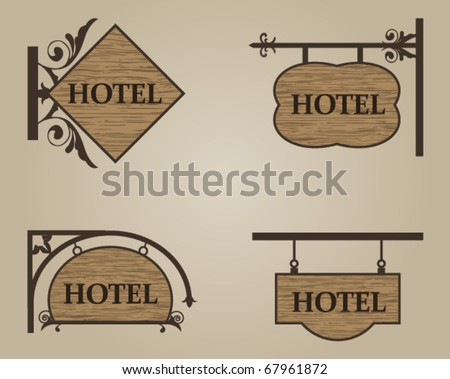 Hotel wood sign - stock vector