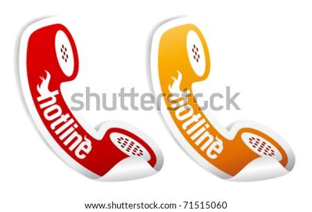 Hotline stickers set. - stock vector