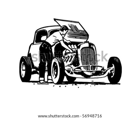 Hotrod Repair - Retro Clip Art - stock vector