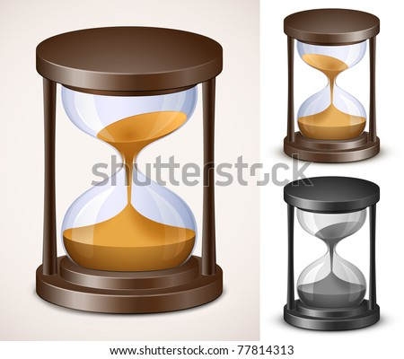 Hourglass collection. Sand watch. Highly detailed vector illustration.