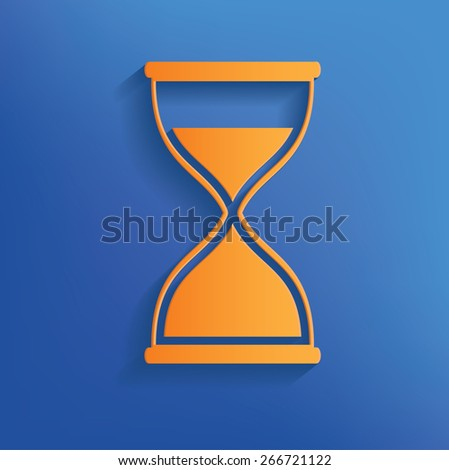 Hourglass design on blue background,clean vector