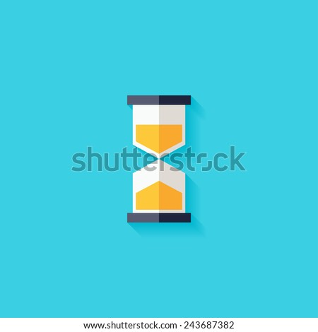 Hourglass flat icon. Modern flat icons vector collection with long shadow effect in stylish colors of web design objects. Trendy Flat Style. Isolated on blue background. Flat design. EPS 10. - stock vector