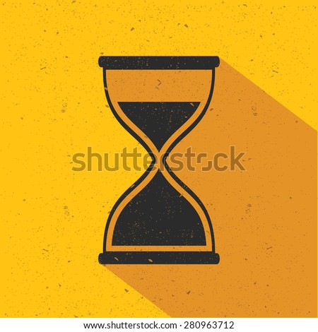 Hourglass icon design on yellow background,flat design,clean vector