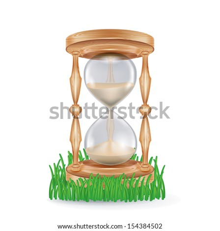 hourglass in grass isolated on white background