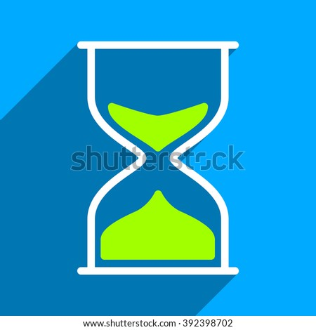 Hourglass long shadow vector icon. Style is a flat hourglass iconic symbol on a blue square background.