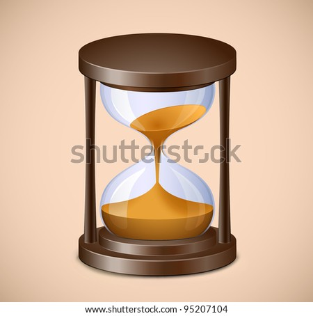 Hourglass on brown background. Vector sand watch