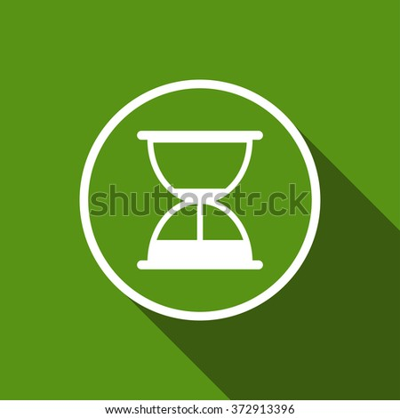 hourglass, sand clock flat icon with long shadow. vector illustration