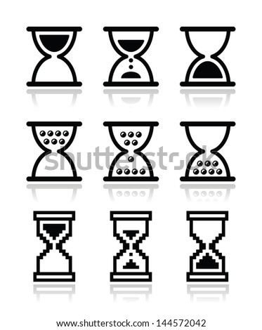Hourglass, sandglass vector icon set - stock vector