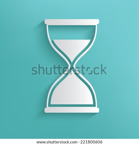 Hourglass symbol on blue background,clean vector - stock vector