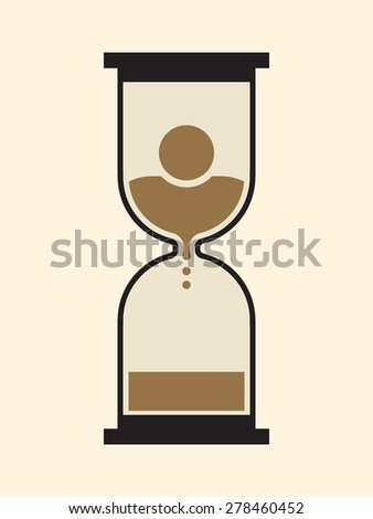 Hourglass: time is unavoidably running out for the mortal human - stock vector