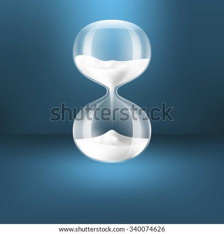 Hourglass.Transparent white sand clock - stock vector