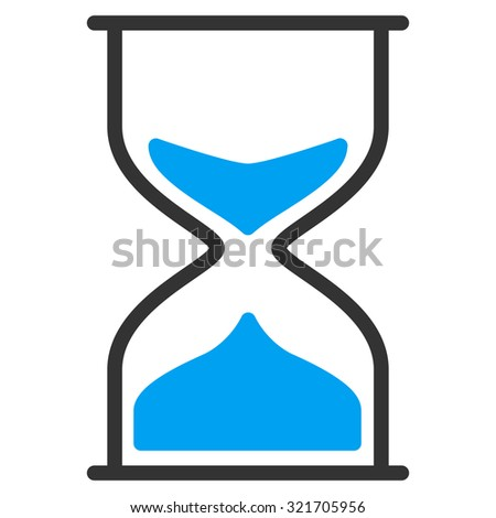 Hourglass vector icon. Style is bicolor flat symbol, blue and gray colors, rounded angles, white background.