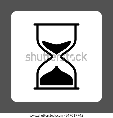 Hourglass vector icon. Style is flat rounded square button, black and white colors, gray background.