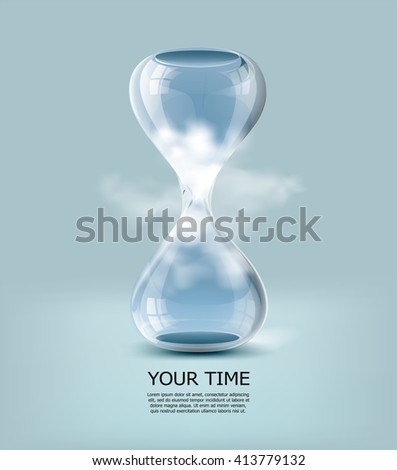 Hourglass with clouds and blue sky inside it. Vector illustration. Business concept background. Business creative idea. Business. Glass with clouds. Business vector illustration. Business time. - stock vector